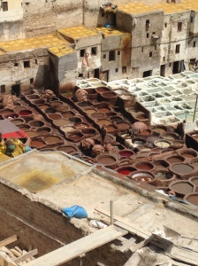 The tannery in Fes is the oldest and most famous in the world.  Here, they process various animal hides - from camel to sheep - to create jackets, shoes, purses, wallets, pants (that's right, leather pants!), and more.